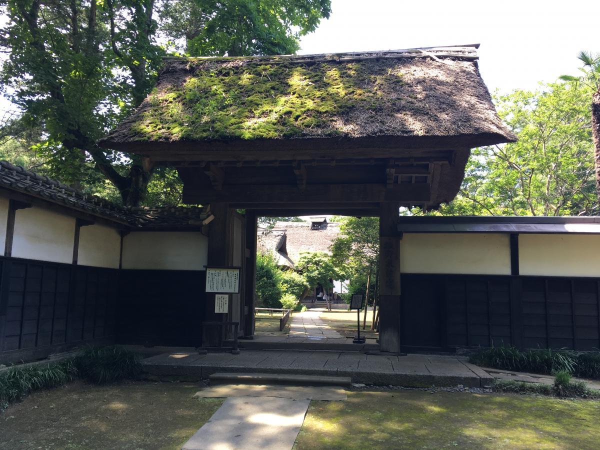茅葺屋根の門